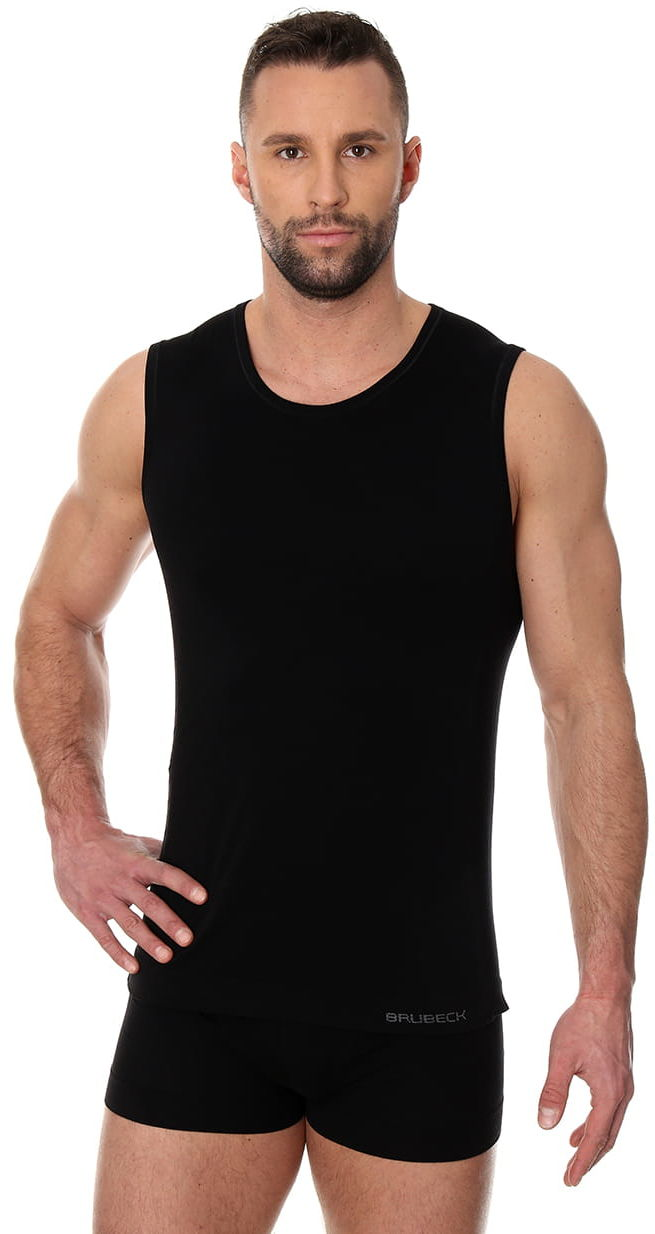 Bezszwowa koszulka męska Brubeck Comfort Cotton SL00068 czarna