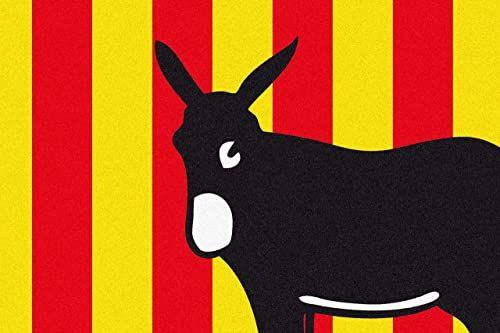 ID matowy katalaniczny Boston Region, włókna syntetyczne, czerwony żółty czarny, 40 x 60 x 0,5 cm