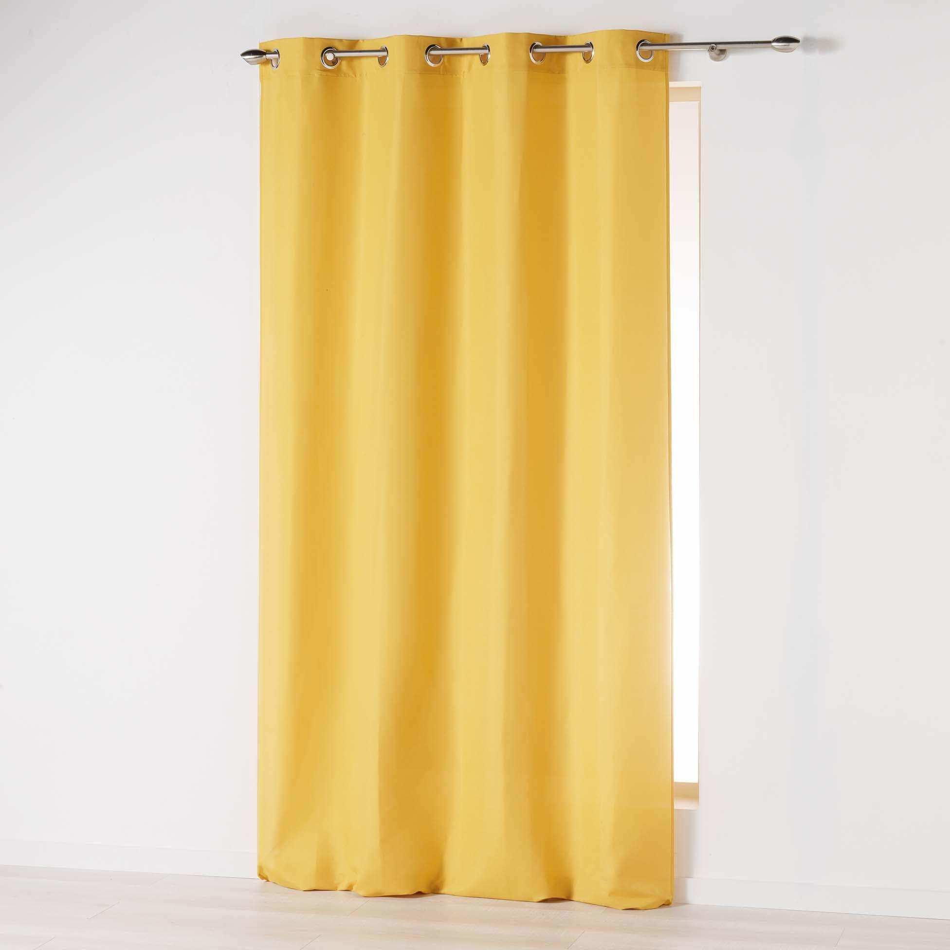 Douceur d''Intérieur Absolu zasłona z mikrofibry, jednokolorowa, poliester, musztardowa żółta, 140 x 260 cm