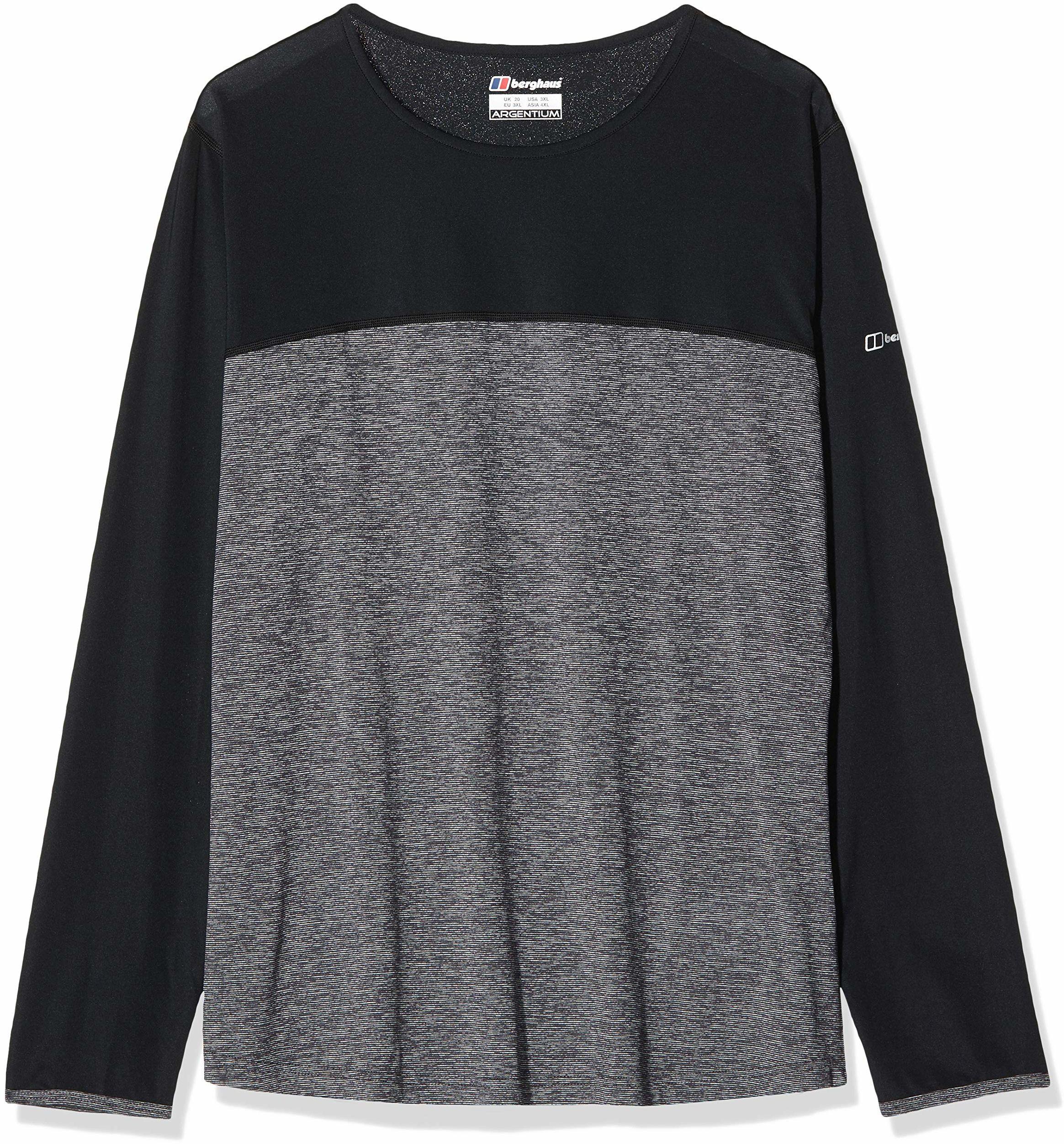 Berghaus Damska koszulka z długim rękawem Voyager Tech Tee Base Layer, Carbon Marl/Jet Black, 12
