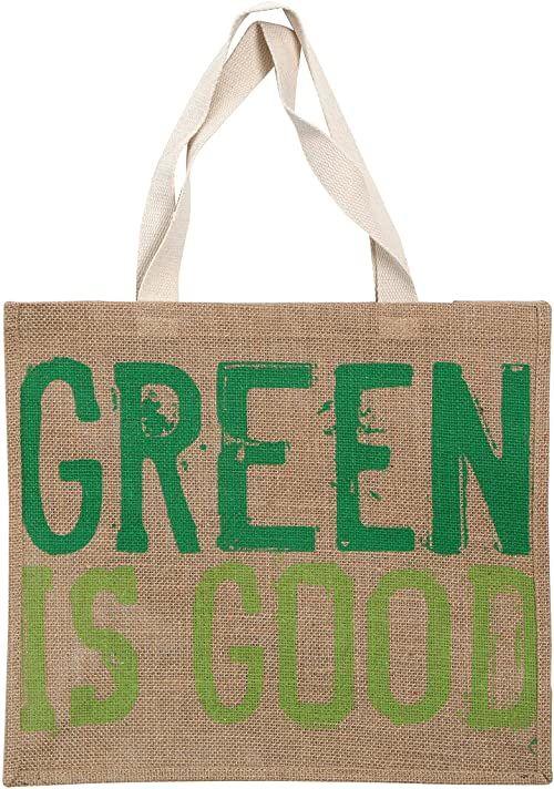Zielony to dobra torba na zakupy, juta Heasian, bawełna, naturalna, zielona