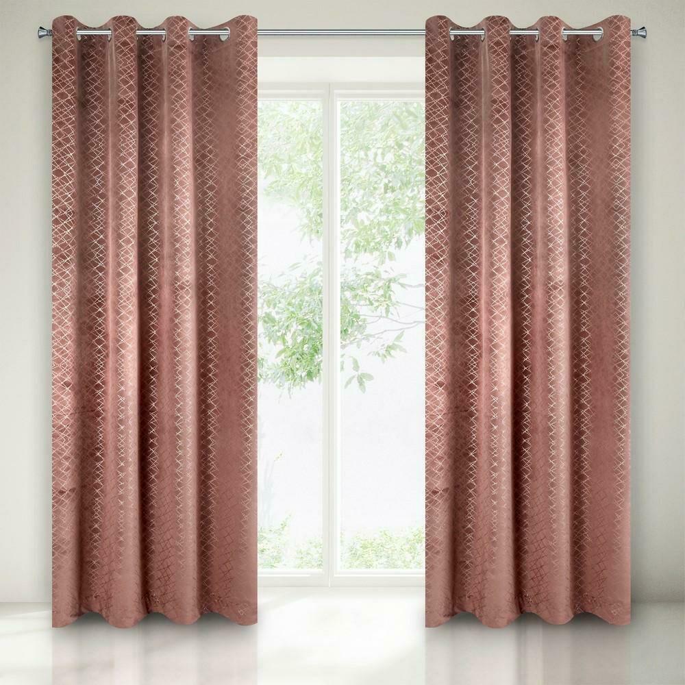 Zasłona gotowa na przelotkach 140x250 Chiara różowa ciemna geometria srebrna welwetowa Eurofirany
