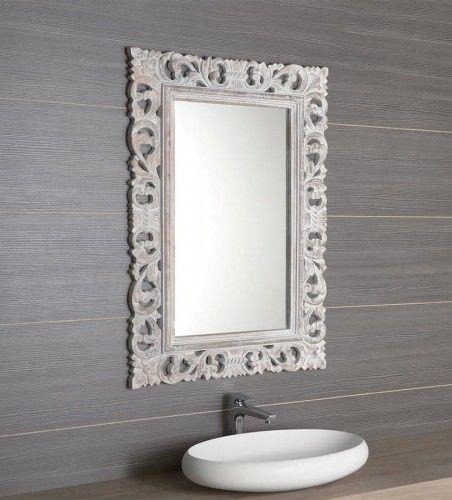 Lustro łazienkowe rama drewniana ręcznie rzeźbiona 70x100 cm starobiały