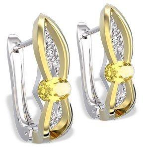 Kolczyki z białego i żółtego złota z cytrynami i diamentami lpk-39bz