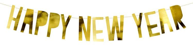 Baner na Nowy Rok - Happy New Year złoty 90cm 1szt. GRL46-019M
