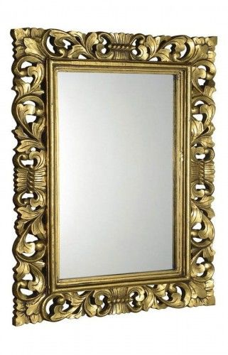 Lustro łazienkowe rama drewniana ręcznie rzeźbiona 70x100 cm stare złoto