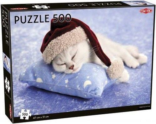 Puzzle TACTIC 500 - Świąteczny kotek, Christmas Kitten