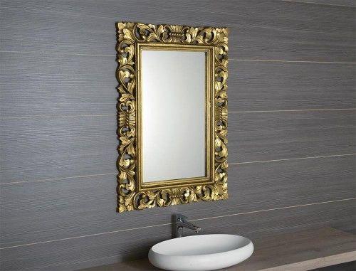Lustro łazienkowe rama drewniana ręcznie rzeźbiona 80x120 cm antyczne złoto