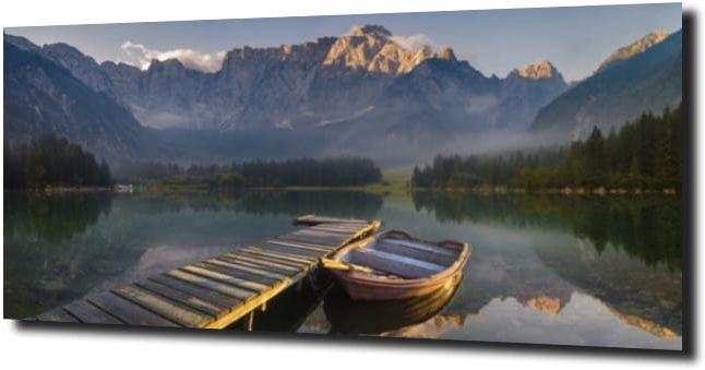 obraz na szkle Drewniany mostek i łódka 120X60