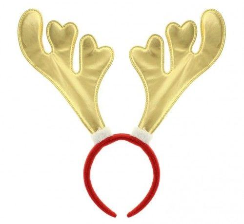 Opaska satynowe Rogi Renifera, złote