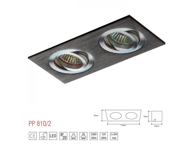 LM 810/2 OPRAWA HALOGENOWA LED WPUSZCZANA OCZKO REGULOWANA CZARNY PAR16 MR16 GU10 GU5,3