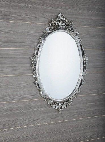 Lustro łazienkowe rama drewo ręcznie rzeźbiona 80x100 cm antyczne srebro