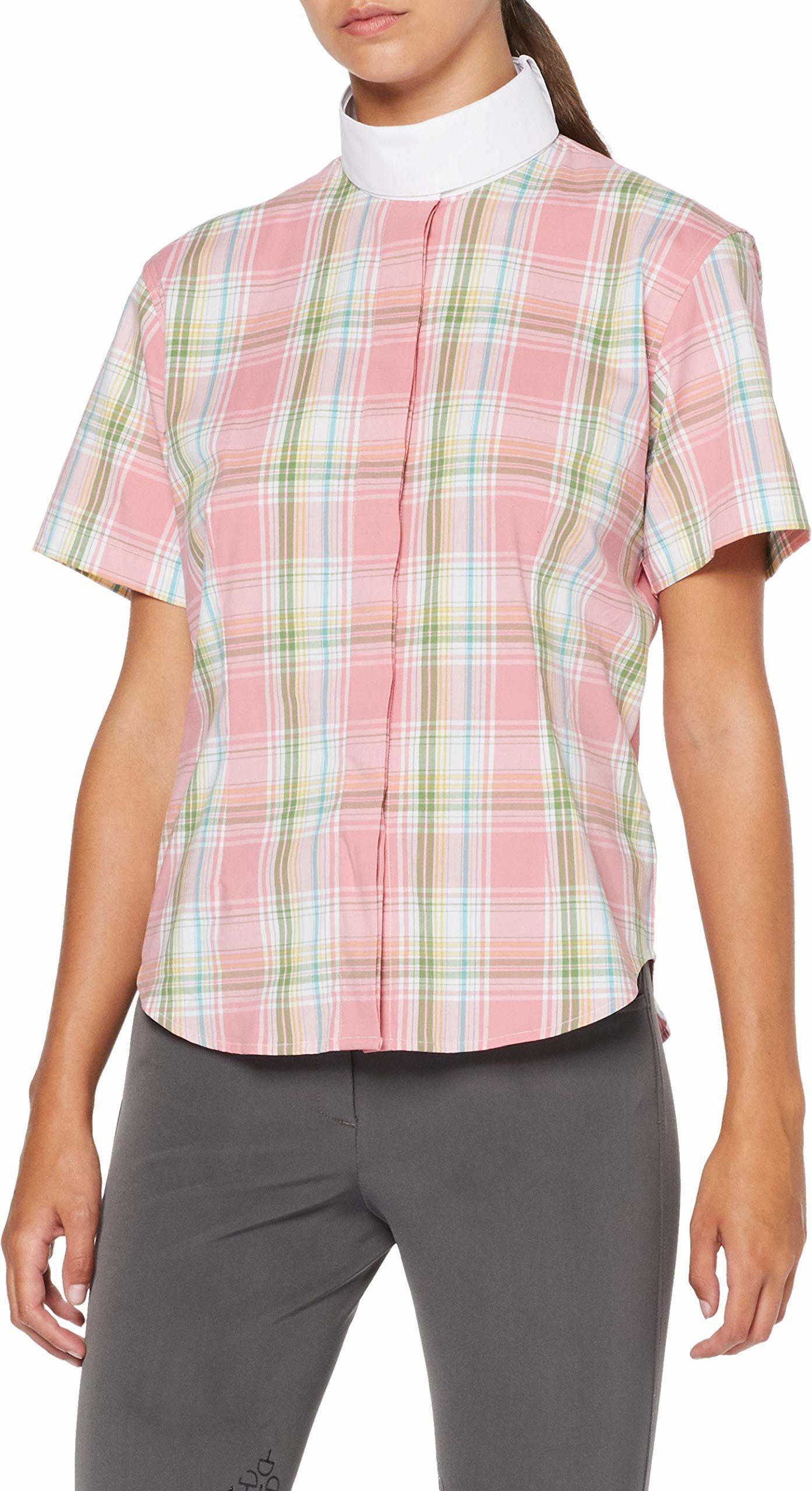 HKM damska bluzka do jazdy konnej, elastyczna, rękaw 1/4, różowy/biały/zielony w kratkę, 152
