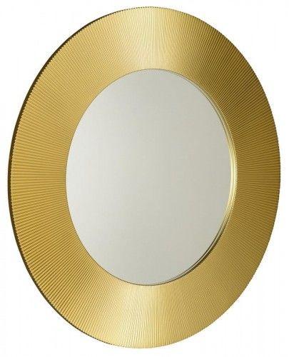 Lustro łazienkowe śr. 90 cm złota rama drewno