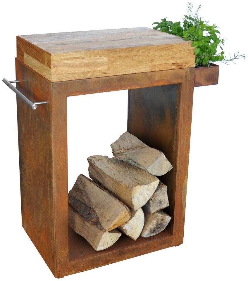 Stolik Artiss mały 60x45x91cm corten - blat drewniany