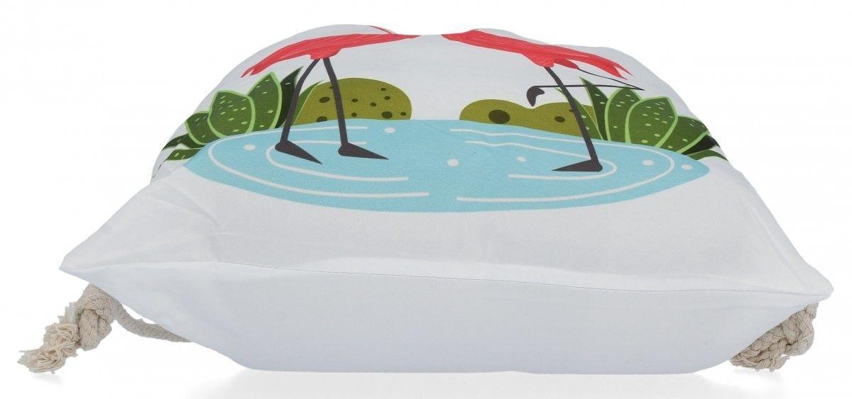 Plecaczki Damskie Praktyczny Worek w modny wzór flamingów love Biały (kolory)