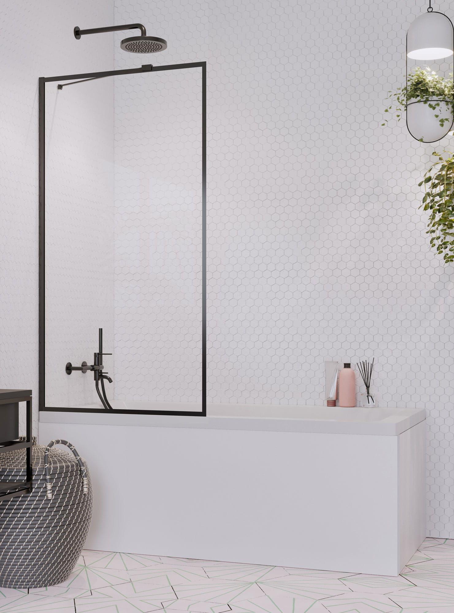 Radaway parawan nawannowy Idea Black PNJ Frame 90 cm, szkło przejrzyste, wys. 150 cm 10001090-54-56