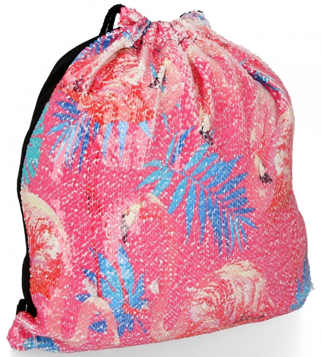 Modny Plecaczek Damski Worek z cekinami we wzór flaminga Różowy (kolory)