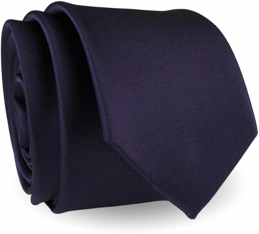 Krawat Męski Elegancki Modny Śledź wąski gładki ciemny fiolet śliwka G280