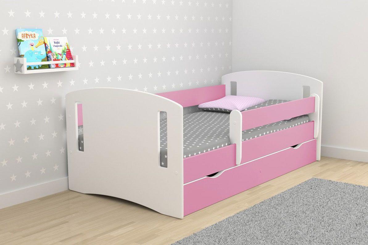 Łóżko dla dziewczynki z materacem Pinokio 3X 80x140 - różowe