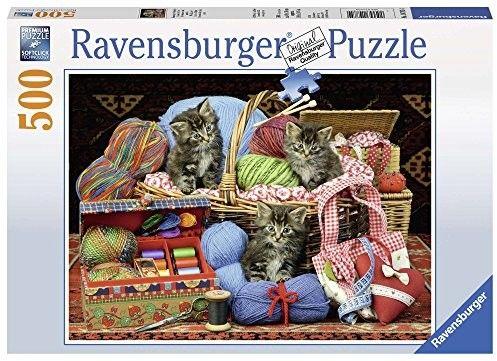 Puzzle Raven 500 - Słodkie kotki w koszyku, Knitter''s Delight