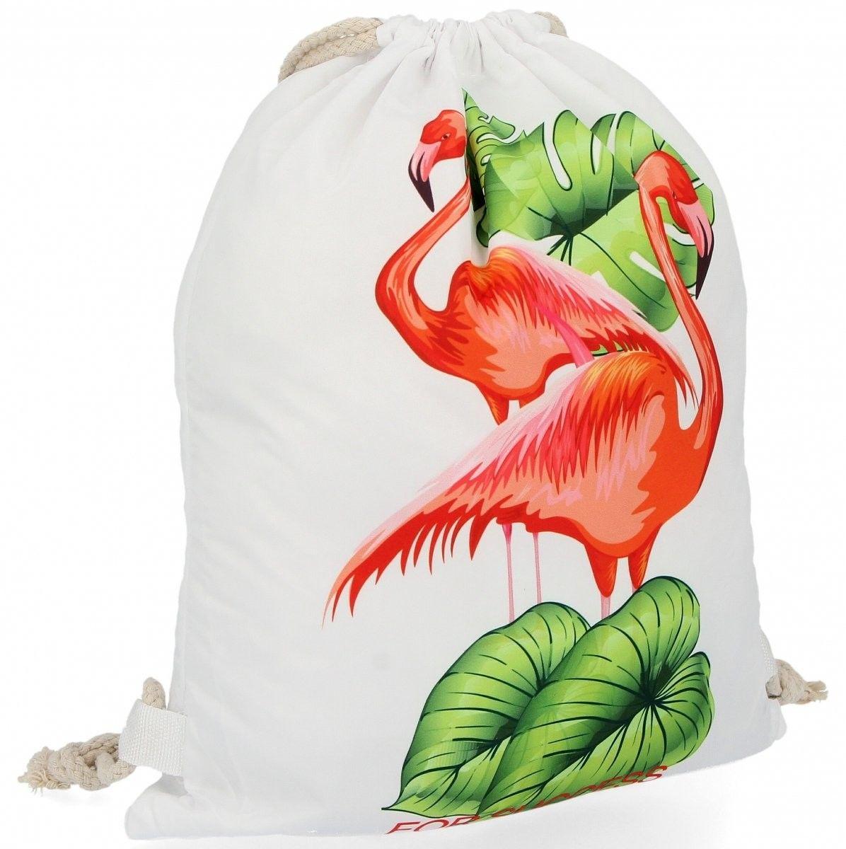 Plecaczki Damskie Praktyczny Worek w modny wzór flaminga Biały (kolory)