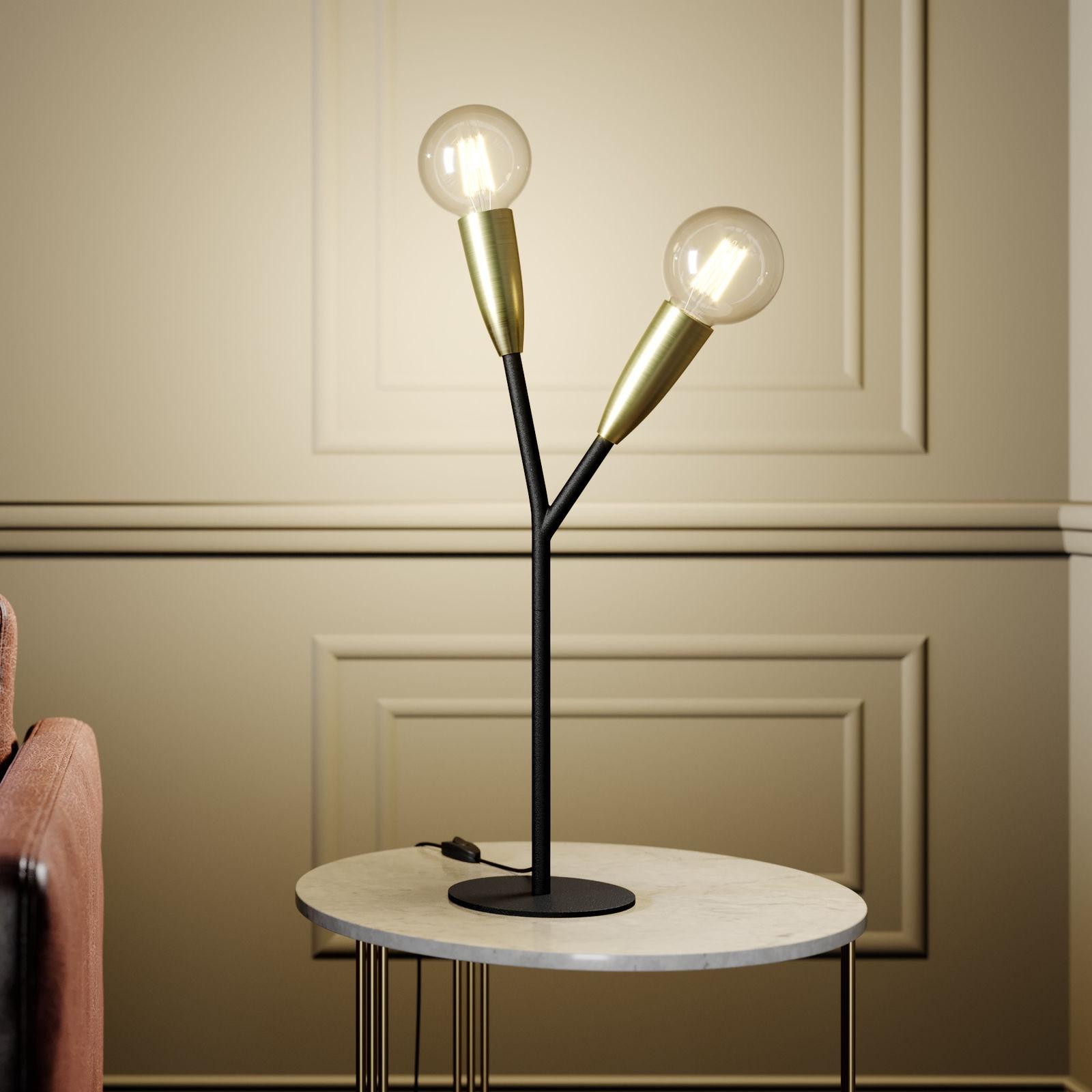 Lampa stołowa Lucande Carlea, 2-punktowa, czarna