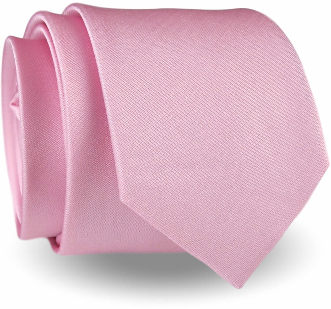 Krawat Męski Elegancki Modny Śledź wąski gładki pudrowy róż G282