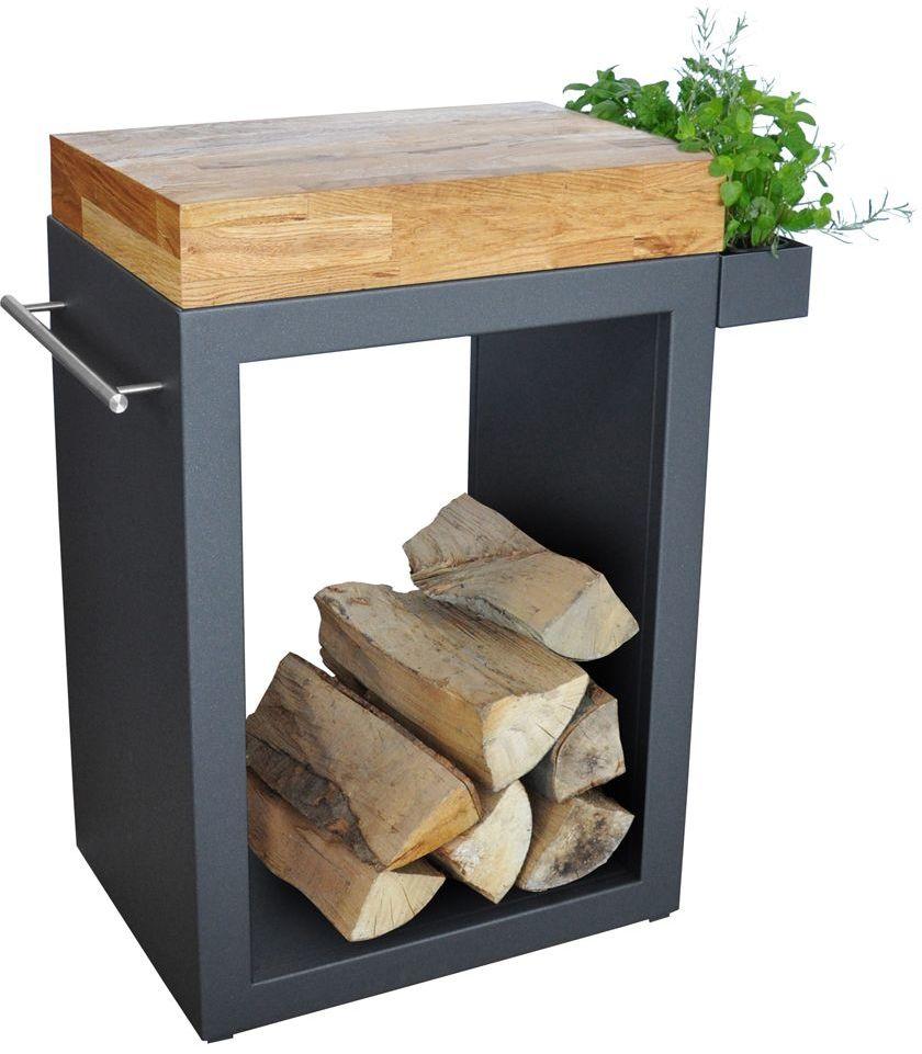 Stolik Artiss mały 60x45x91cm grafit - blat drewniany