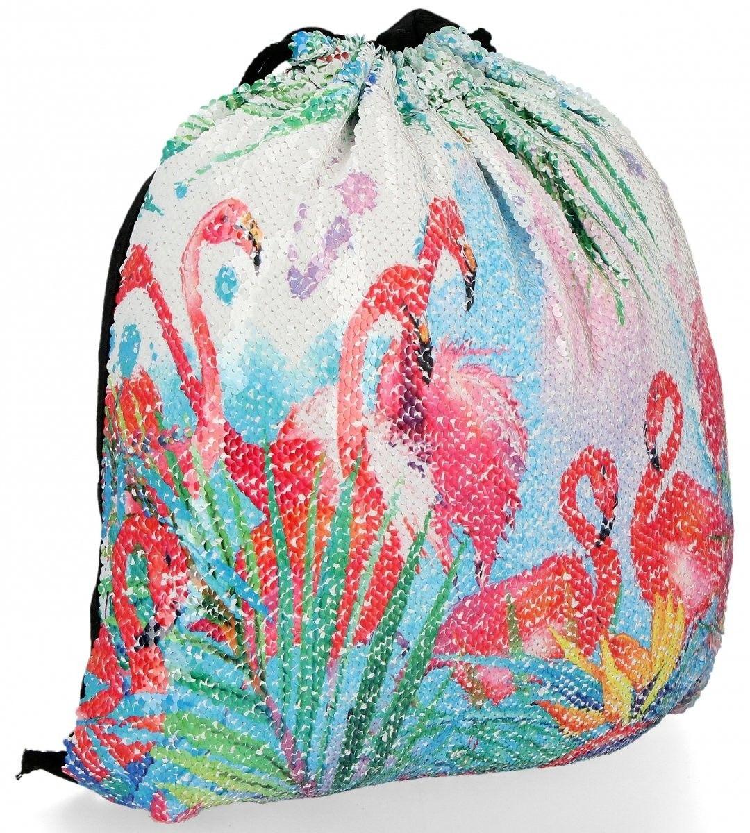 Modny Plecaczek Damski Worek z cekinami we wzór flaminga Biały (kolory)