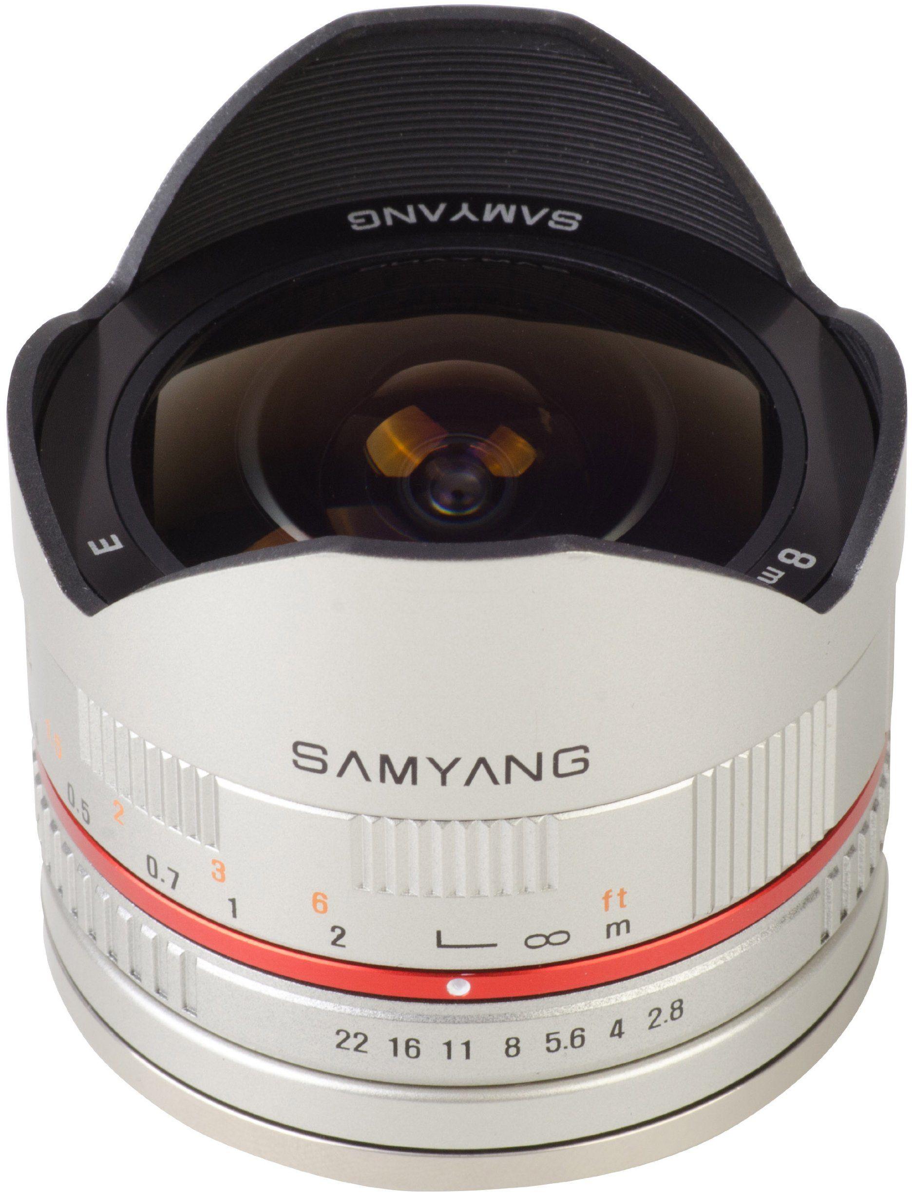 Samyang 8 mm rybie oko F2.8 ręczna soczewka ogniskowa do Samsung NX - srebrna