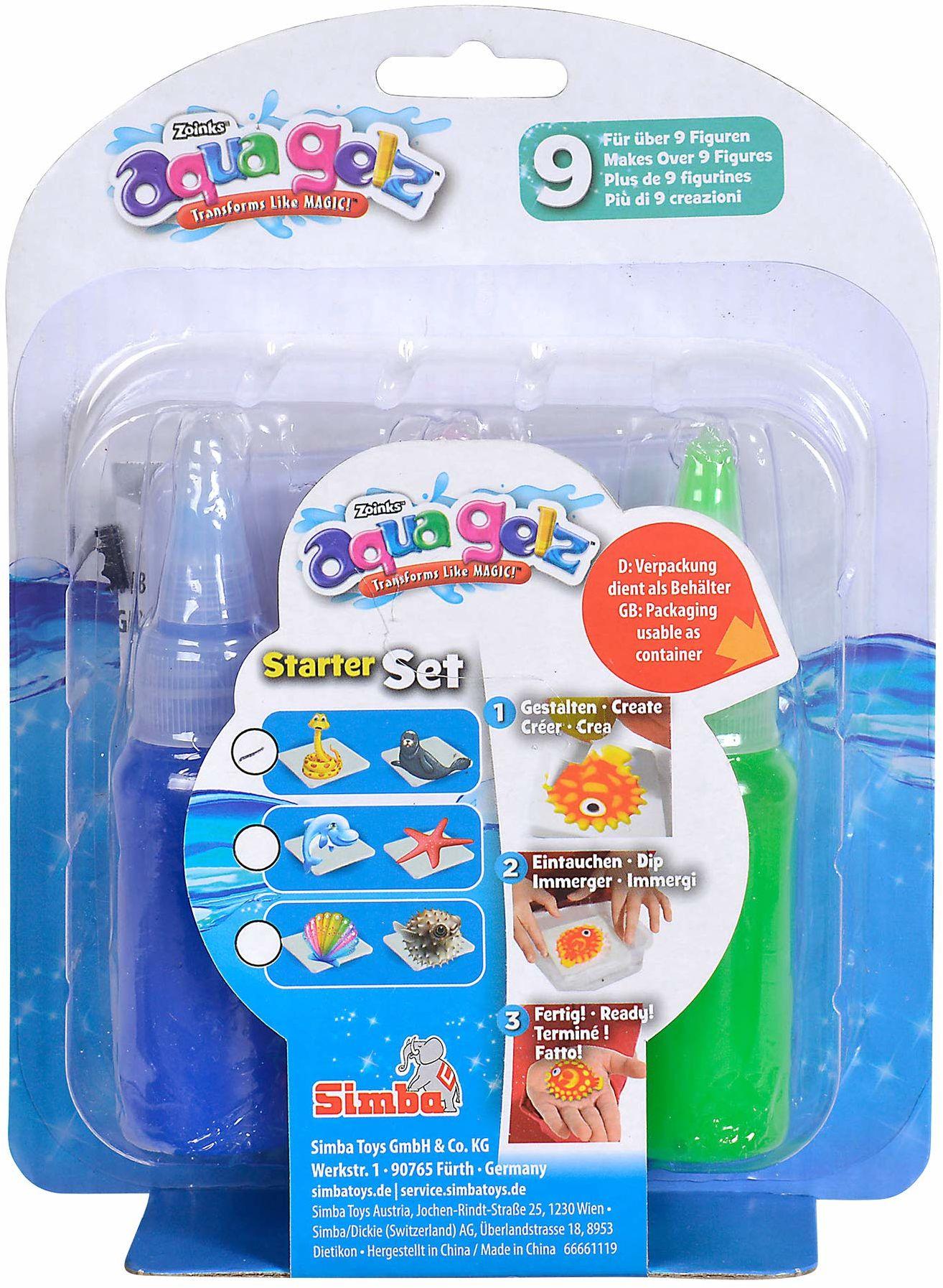 Simba 106322450 Aqua Gelz zestaw startowy, miękkie figurki w 3D, zanurz kolorowy żel w kształtach, od 8 lat