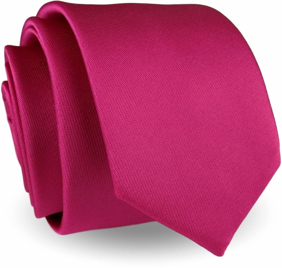 Krawat Męski Elegancki Modny Śledź wąski gładki różowy fuksja G283