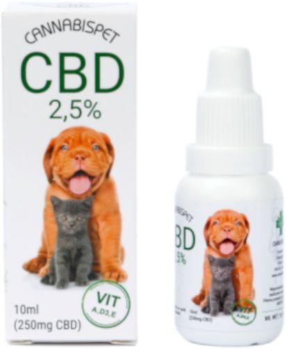 CANNABISPET Olej CBD 2,5% z wit. A, D3, E dla zwierząt 10ml