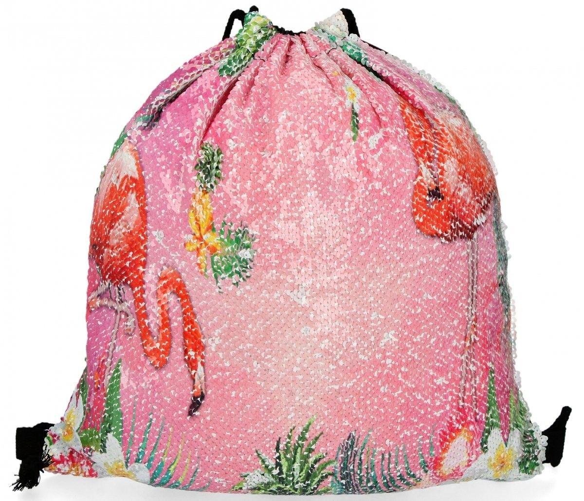 Modny Plecaczek Damski Worek z cekinami we wzór flaminga Jasno Różowy (kolory)