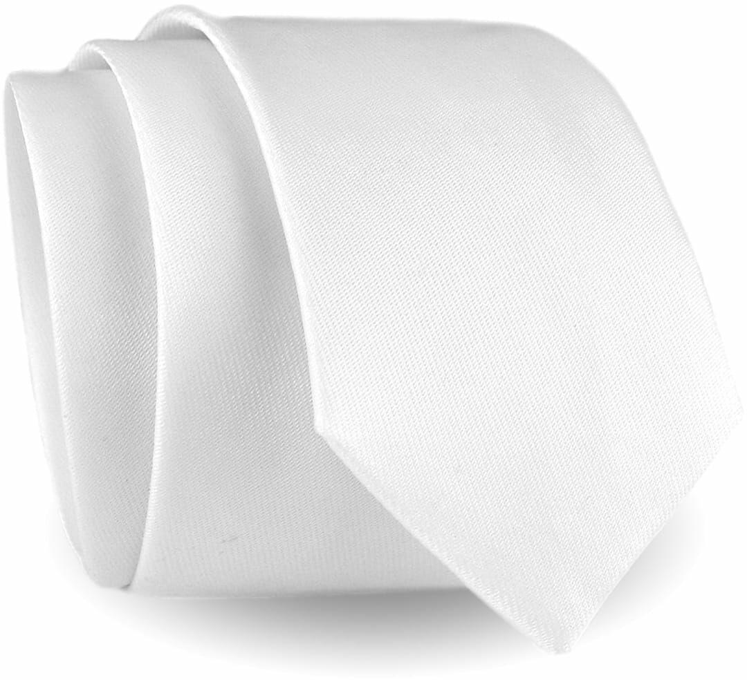 Krawat Męski Elegancki Modny Śledź wąski gładki biały G286