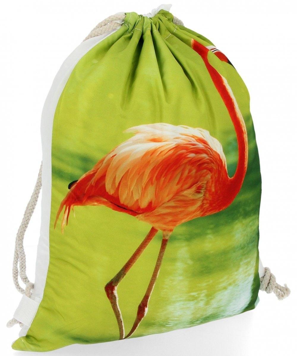 Plecaczki Damskie Praktyczny Worek w modny wzór flaminga Zielony (kolory)