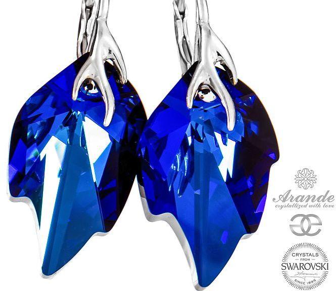 Kryształy piękne kolczyki BERMUDA BLUE LEAF SREBRO