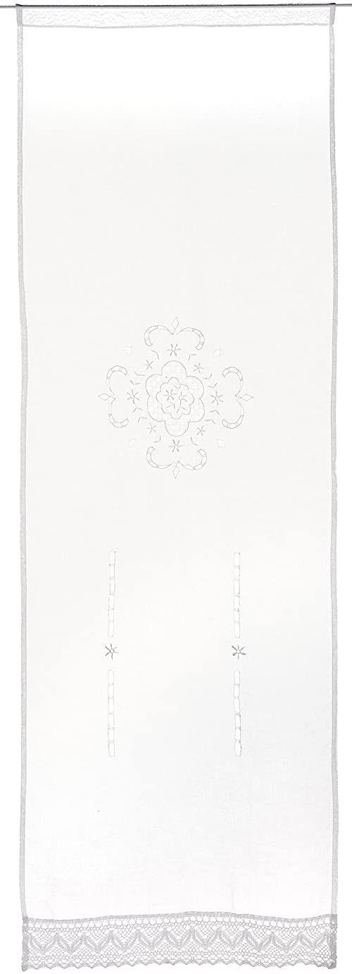 Home fashion zasłona na drzwi z haftem struktury lnu, tkanina, biała, 180 x 60 cm