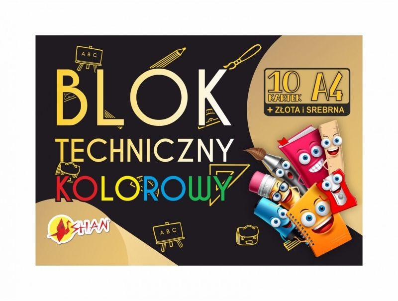 Blok techniczny kolorowy 10 arkuszy plus złota i srebrna 4171-BL-TKZS 371026, Format: A4 (21x29.7 cm)