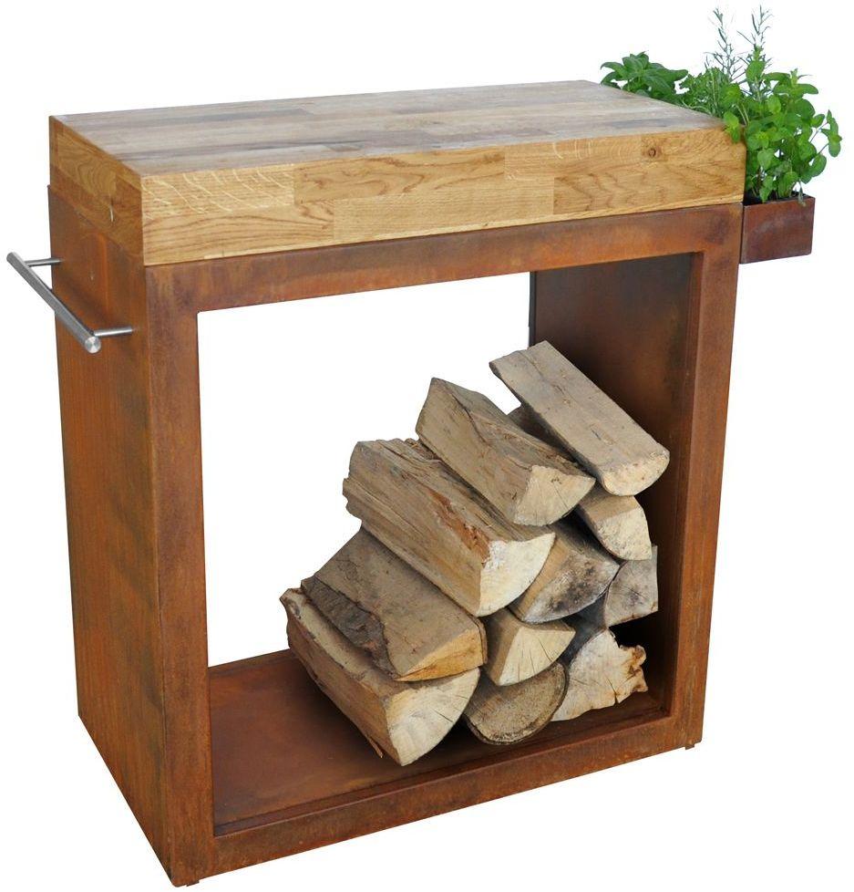 Stolik Artiss duży 80x45x91cm corten - blat drewniany