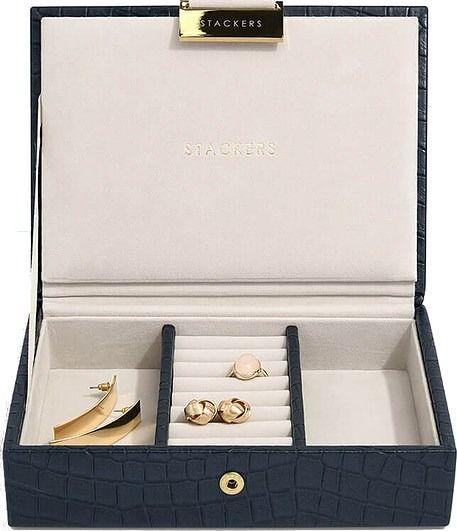 Pudełko na biżuterię z pokrywką mini stackers croc granatowe