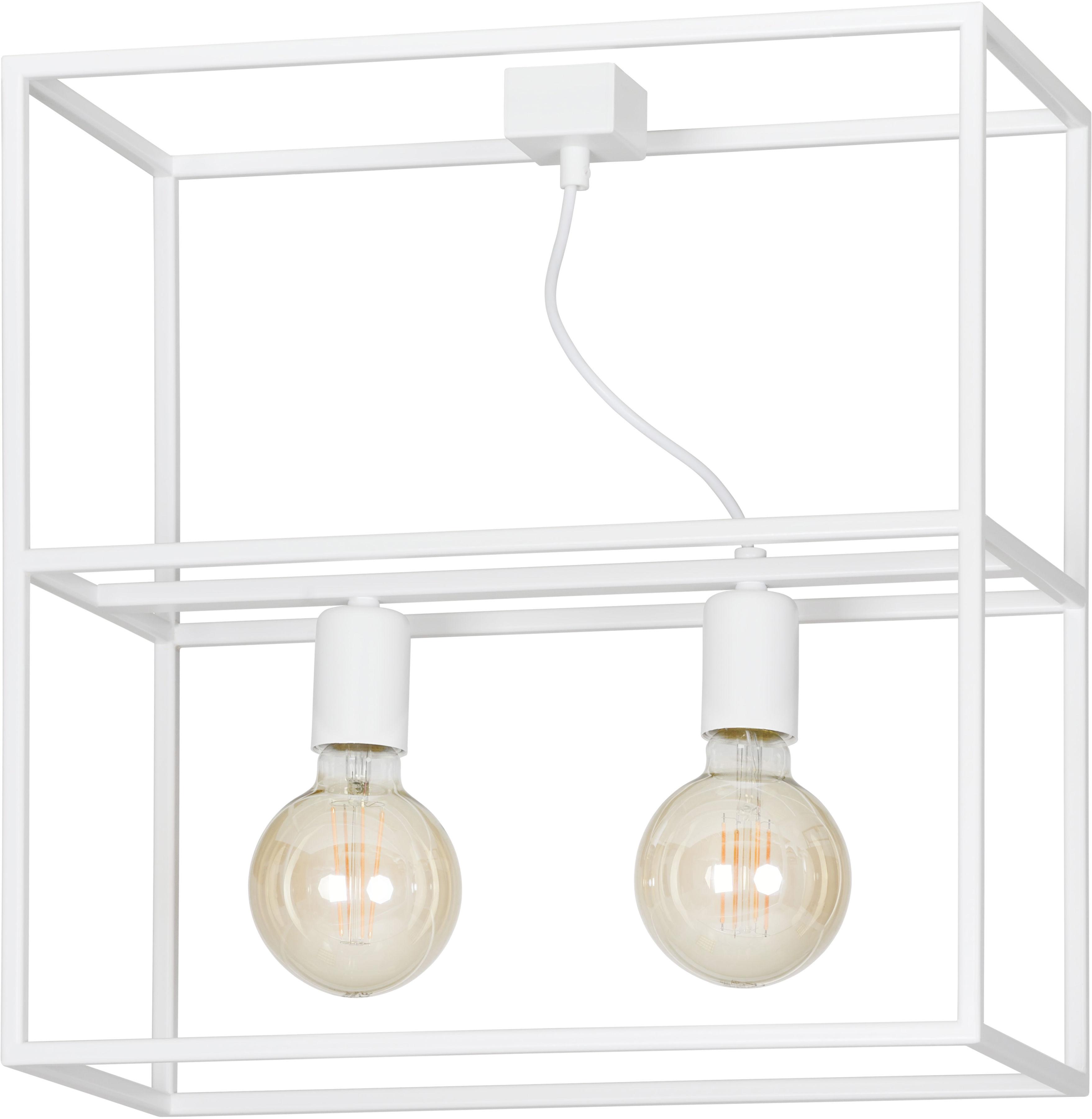 Emibig OMIKRON 2 WHITE 147/2 plafon lampa sufitowa metal ramka klatka w stylu loft biała 2x60W E27 44cm