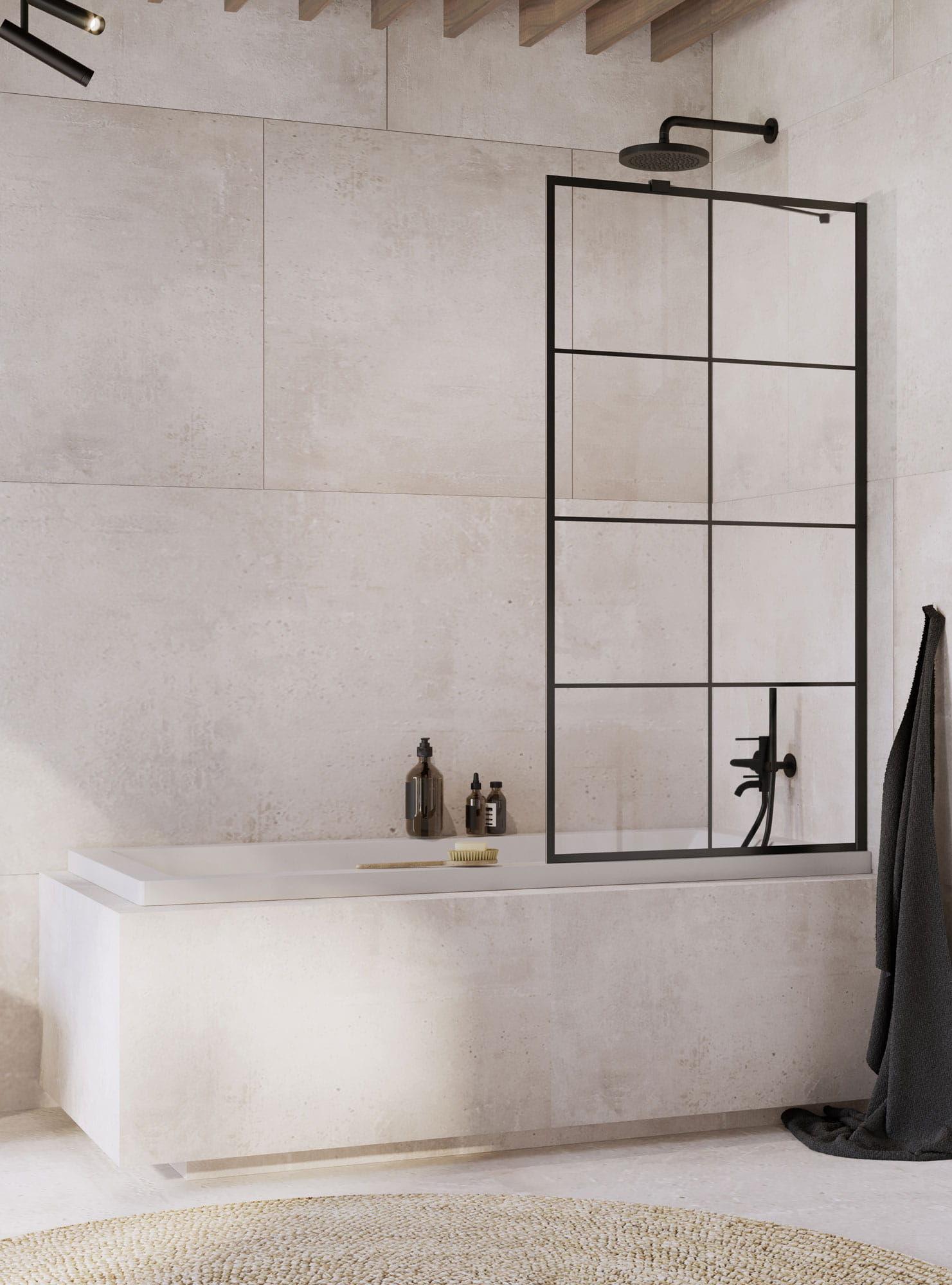 Radaway parawan nawannowy Idea Black PNJ Factory 90 cm, szkło przejrzyste, wys. 150 cm 10001090-54-55