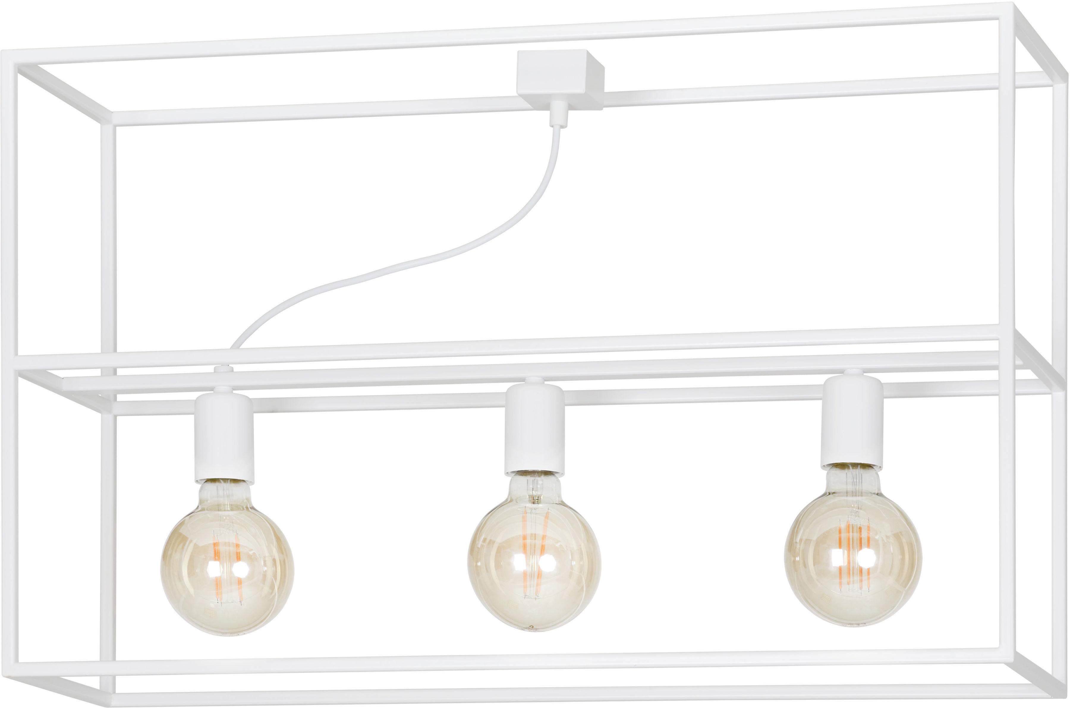 Emibig OMIKRON 3 WHITE 147/3 plafon lampa sufitowa ramka klatka w stylu loft biała 3x60W E27 72cm