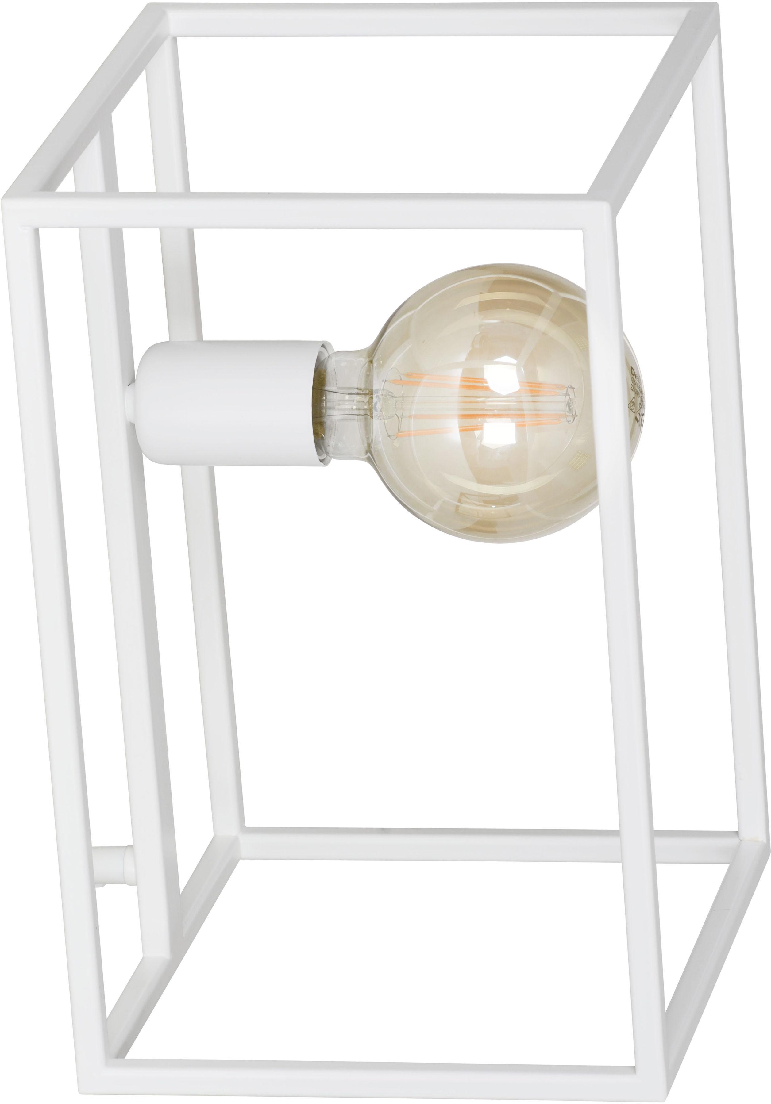 Emibig OMIKRON LN1 WHITE 147/LN1 lampa stołowa ramka klatka w stylu loft biała metal 1x60W E27 20cm