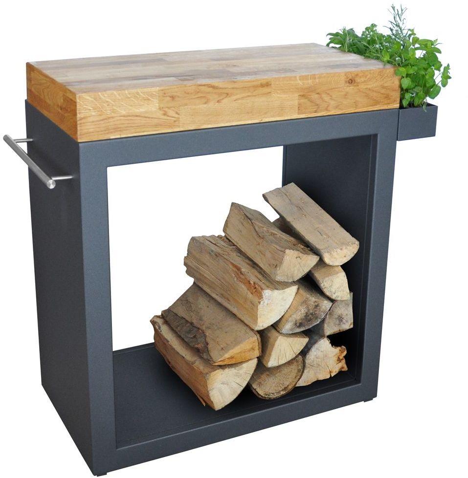Stolik Artiss duży 80x45x91cm grafit - blat drewniany