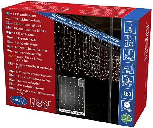 Konstsmide 3674-103 LED lodowy deszcz kurtyna świetlna z białymi globusami / do użytku na zewnątrz (IP44) / transformator zewnętrzny 24 V / 200 diod w kolorze ciepłej bieli / przezroczysty kabel