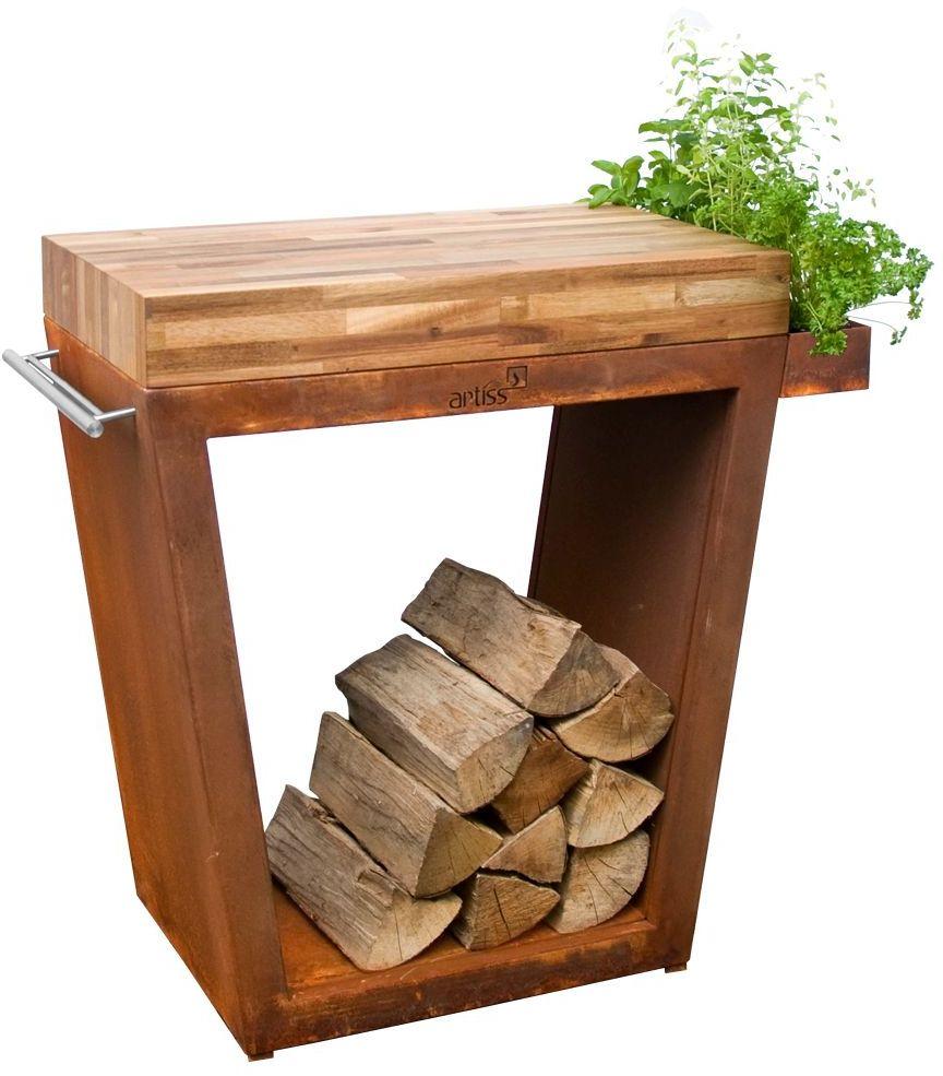 Stolik Artiss trapez duży 80x45x91cm corten - blat drewniany
