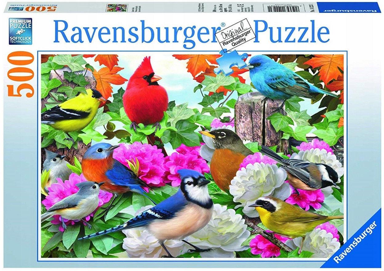 Puzzle Raven 500 - Ogrodowe ptaki, Garden Birds